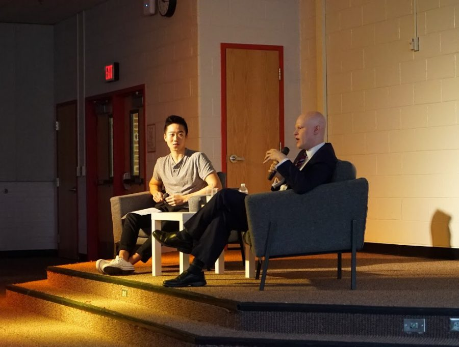 School+board+member+Ryan+McElveen+shares+his+thoughts+with+Madison+students+during+MADTalks.