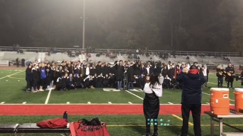 Madison+band+at+midfield+to+celebrate+their+state+championship.