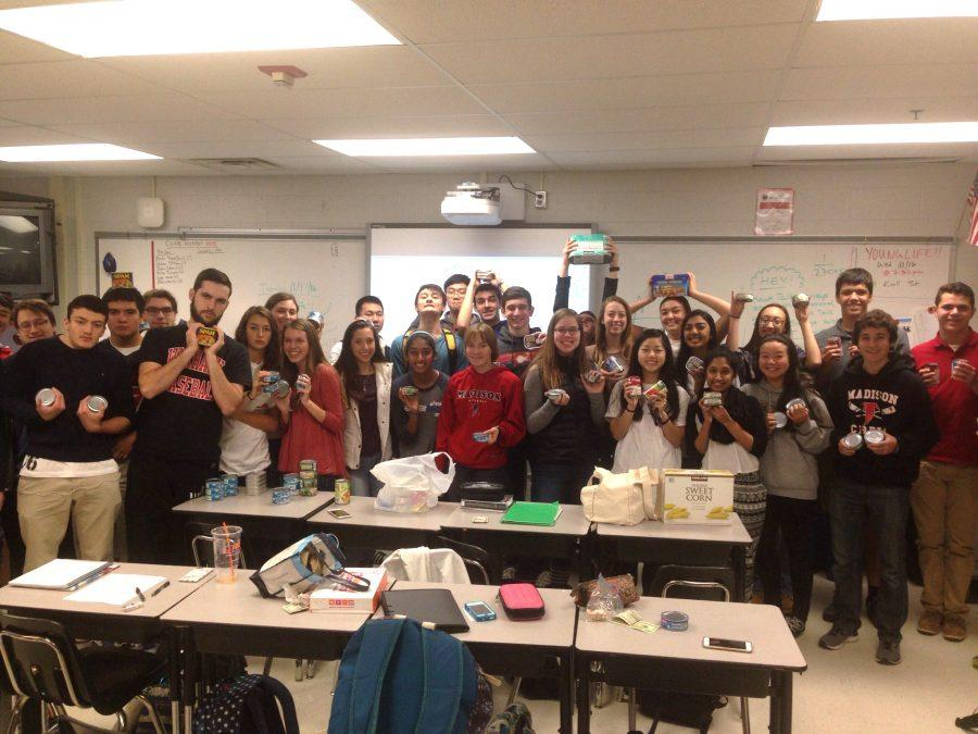 Ms. Moy's 3rd period B/C Calculus class is in the lead in the canned food drive contest.