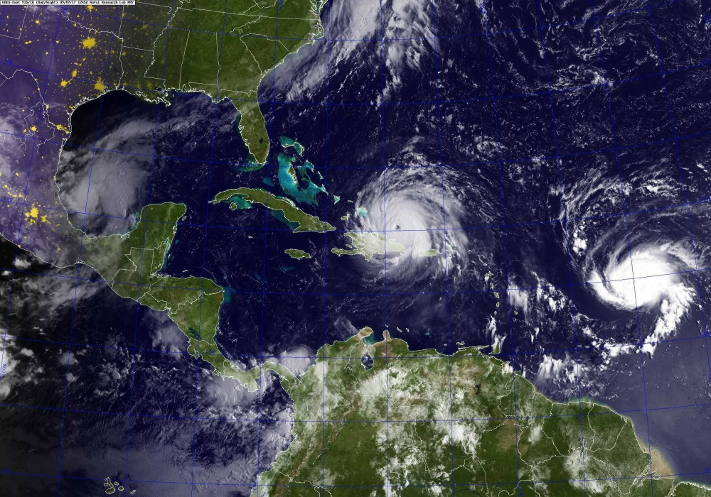 On Sept. 7, 2017 the Western Atlantic was host to three hurricanes: Katia in the Gulf of Mexico, Irma in the center, and Jose to the right.