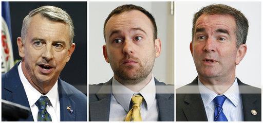 The Va. gubernatorial candidates (r-l) Republican Ed Gillespie, Libertarian Cliff Hyra, Democrat Lt. Gov. Ralph Northam