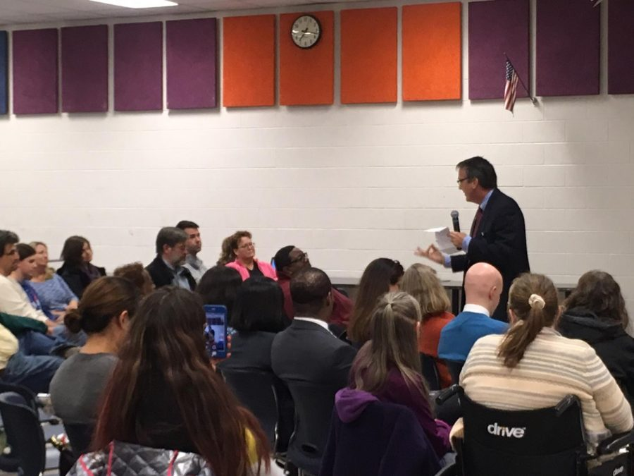 Brabrand addresses overcrowding at West Potomac High School.