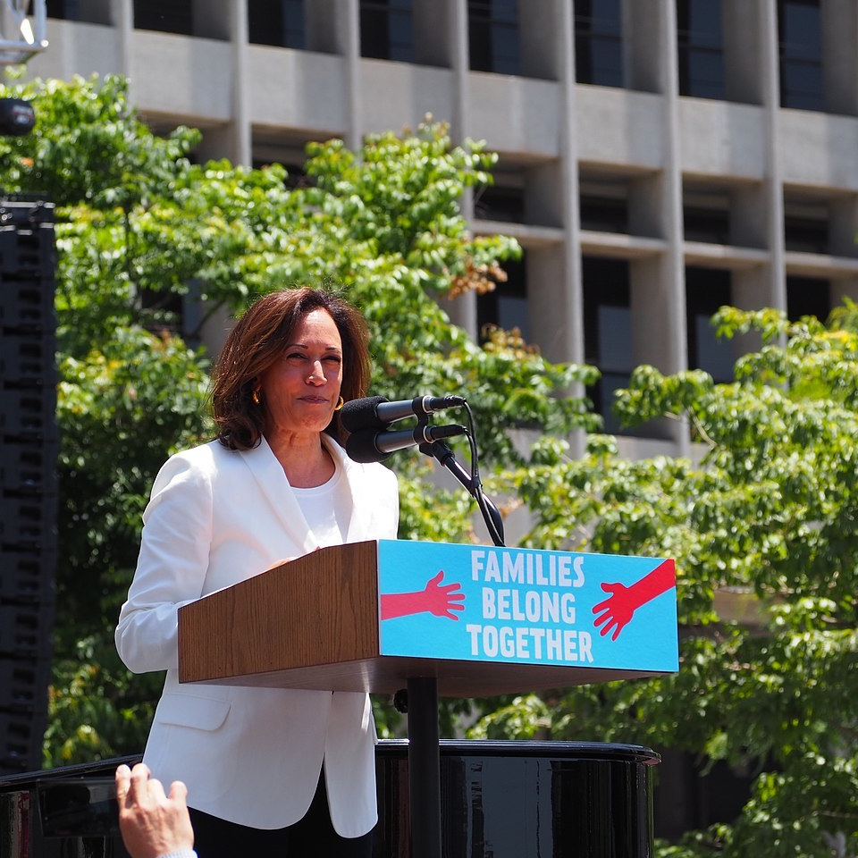 2020 presidential candidate Kamala Karris (D-CA) speaks at a Families Belong Together March in Los Angeles in 2018.